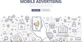 扁平化商务手机广告涂鸦概念图案插画矢量素材