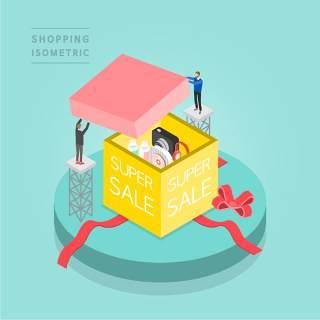 创意时尚2.5D等距视角人物购物促销社交场景舞台插画矢量素材24