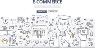 扁平化商务电子商务理论概念图案插画矢量素材