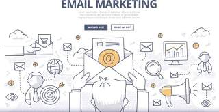 扁平化商务电子邮件市场营销图案插画矢量素材