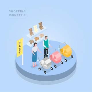 创意时尚2.5D等距视角人物购物促销社交场景舞台插画矢量素材10