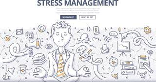 扁平化商务压力抗压管理概念图案插画矢量素材