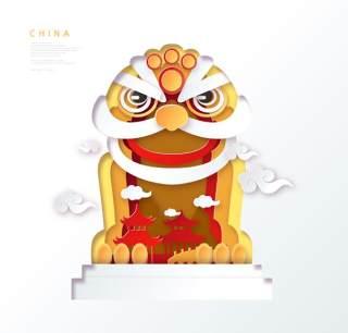 创意剪纸立体中国北京上海地图城市建筑插图AI矢量设计素材(12)