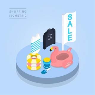 创意时尚2.5D等距视角人物购物促销社交场景舞台插画矢量素材02