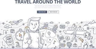 扁平化商务旅游世界涂鸦概念图案插画矢量素材