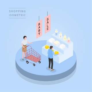 创意时尚2.5D等距视角人物购物促销社交场景舞台插画矢量素材11