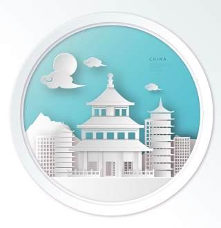 创意剪纸立体中国北京上海地图城市建筑插图AI矢量设计素材(4)