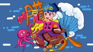 创意手绘抽象插画儿童涂鸦幻想太空外星海报背景PSD模板设计素材20