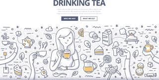 扁平化商务喝茶休息涂鸦概念图案插画矢量素材