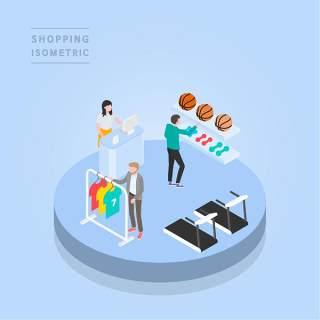创意时尚2.5D等距视角人物购物促销社交场景舞台插画矢量素材15