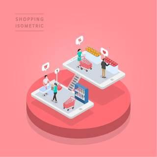 创意时尚2.5D等距视角人物购物促销社交场景舞台插画矢量素材25