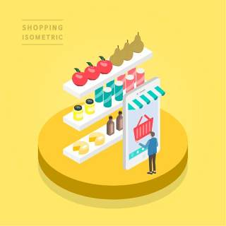 创意时尚2.5D等距视角人物购物促销社交场景舞台插画矢量素材20