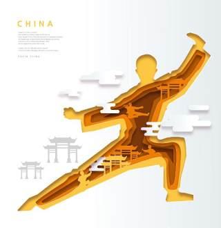 创意剪纸立体中国北京上海地图城市建筑插图AI矢量设计素材(5)