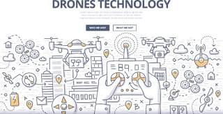 扁平化商务无人机技术概念图案插画矢量素材