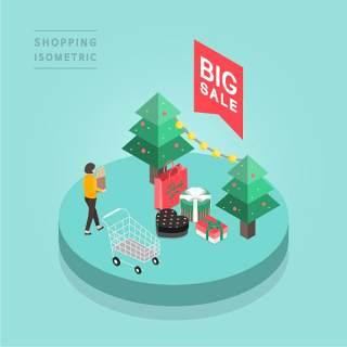 创意时尚2.5D等距视角人物购物促销社交场景舞台插画矢量素材16