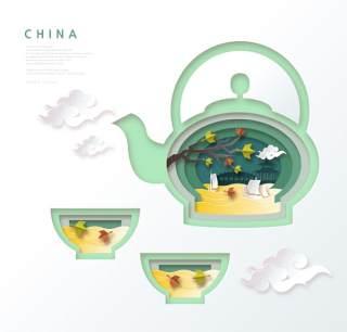 创意剪纸立体中国北京上海地图城市建筑插图AI矢量设计素材(10)