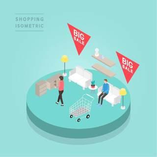 创意时尚2.5D等距视角人物购物促销社交场景舞台插画矢量素材21