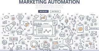扁平化商务市场管理营销自动化概念图案插画矢量素材