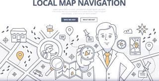 扁平化商务地图导航涂鸦概念图案插画矢量素材