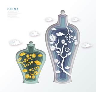 创意剪纸立体中国北京上海地图城市建筑插图AI矢量设计素材(11)