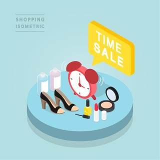 创意时尚2.5D等距视角人物购物促销社交场景舞台插画矢量素材18