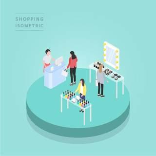 创意时尚2.5D等距视角人物购物促销社交场景舞台插画矢量素材07