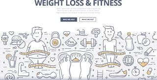 扁平化商务减肥健身涂鸦概念图案插画矢量素材
