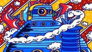 创意手绘抽象插画儿童涂鸦幻想太空外星海报背景PSD模板设计素材06