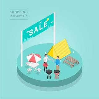 创意时尚2.5D等距视角人物购物促销社交场景舞台插画矢量素材12