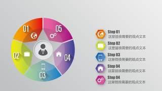 PPT信息图表元素圆形五项目录