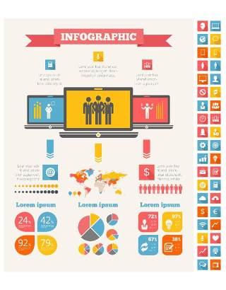 信息图形集世界地图和信息图形10