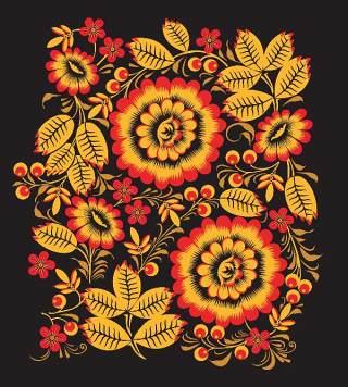 霍克洛马风格的花卉图案和装饰02