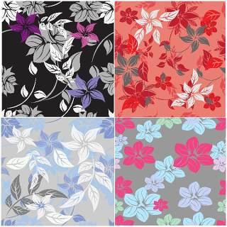 无缝花卉图案套装17