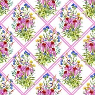 可爱的水彩无缝花卉和其他图案01