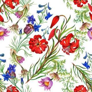 可爱的水彩无缝花卉和其他图案21