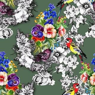 可爱的水彩无缝花卉和其他图案19