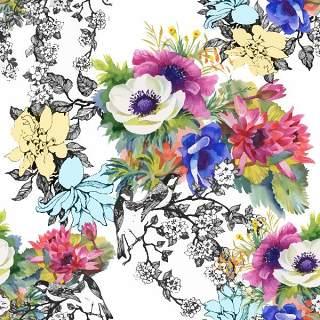 可爱的水彩无缝花卉和其他图案17