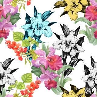 可爱的水彩无缝花卉和其他图案16