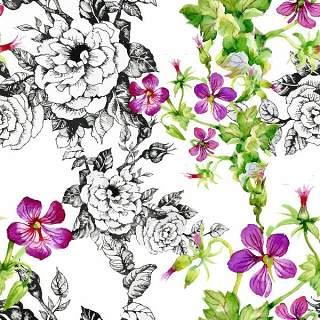 可爱的水彩无缝花卉和其他图案08