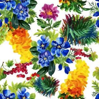 可爱的水彩无缝花卉和其他图案20