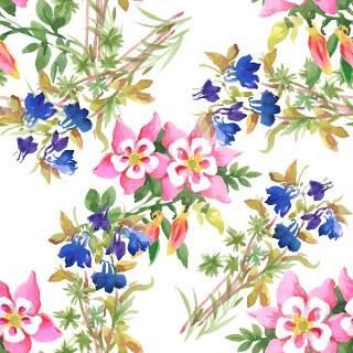 可爱的水彩无缝花卉和其他图案14