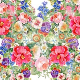 可爱的水彩无缝花卉和其他图案18