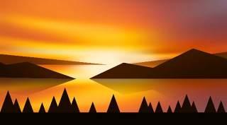 山峰日出自然风景PSD海报背景素材可印刷