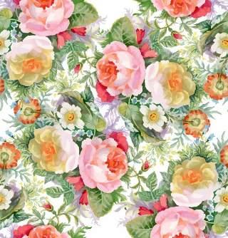 可爱的水彩无缝花卉和其他图案02