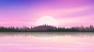 紫色系天空倒影风景插画PSD背景素材