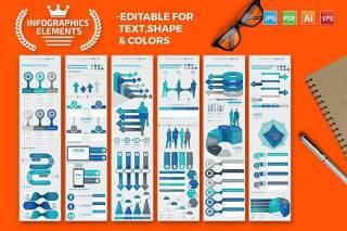 可编辑颜色信息图表素材 Infographics