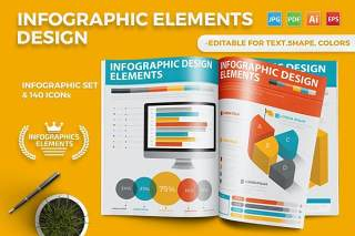 3D信息图表元素模板设计 Infographics Template Design