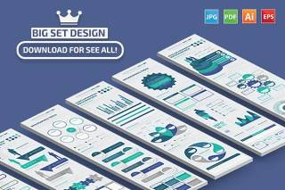 精品宝石蓝色系信息图表矢量素材 Infographic Elements Design