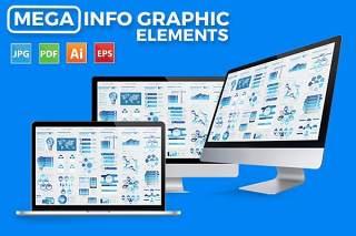 超级蓝色信息图表设计素材 Mega Blue Infographics