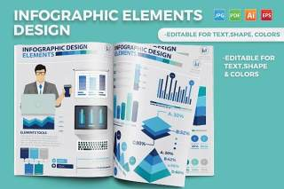 蓝色矢量信息图表模板 Infographic Elements